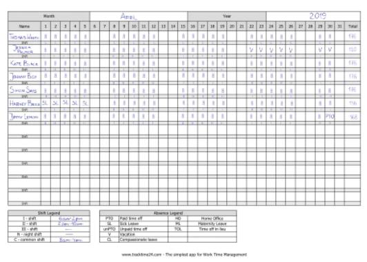Paper-Based Shift Roster
